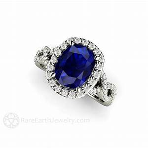 blue sapphire engagement ring cushion cut infinity halo With rare earth wedding rings