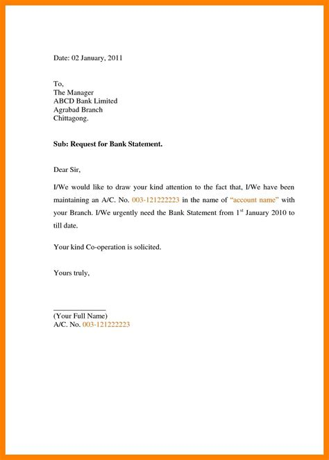 request letter  bank statement format sample fresh