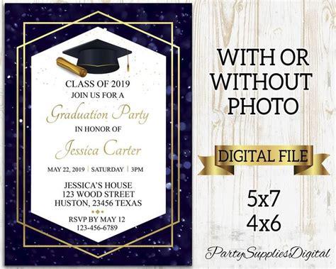 Graduation Party Invitation Grad Invites Blue and Gold