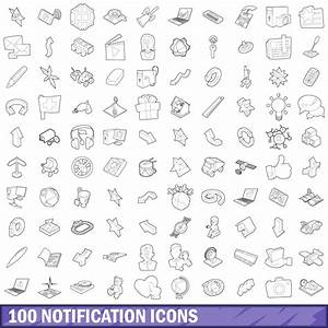 100 Notification Icons Set  Outline Style By Ylivdesign