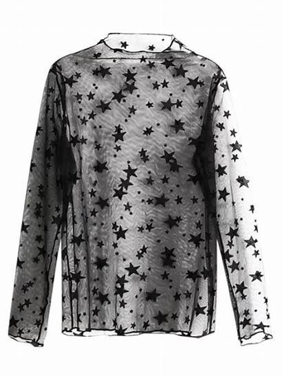 Blouse Through Lace Stars Tops Blouses Sleeve