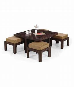 inhouz solid wood square coffee table with stools buy With square coffee table with stools underneath
