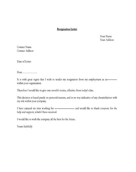 resignation letter  regret template   word