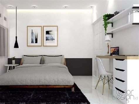 desain kamar monokrom kamar tidur putih hitam  anti