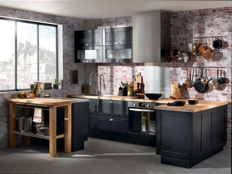 cuisine bois cuisine noir et bois conforama