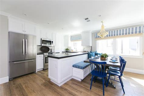 kitchen peninsula with seating blue breakfast nook with l shaped dining banquette