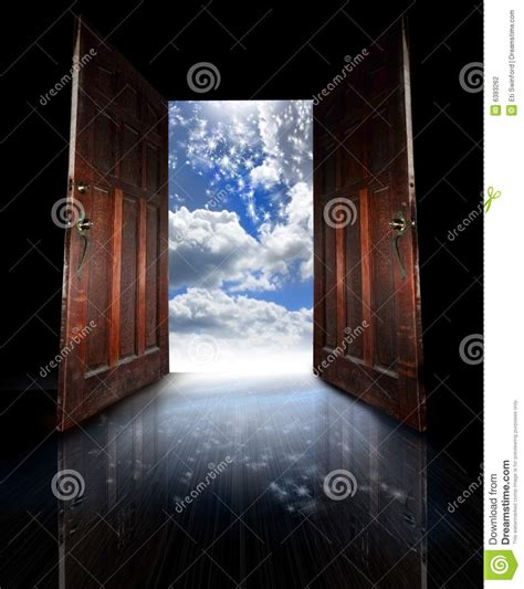 opened doors stock photo image  peace travel dream