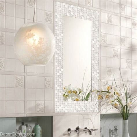 crystal white mosaics glass bathroom wall art tiles