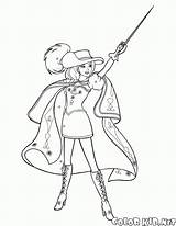 Coloring Musketeers Musketeer Costume Brave sketch template
