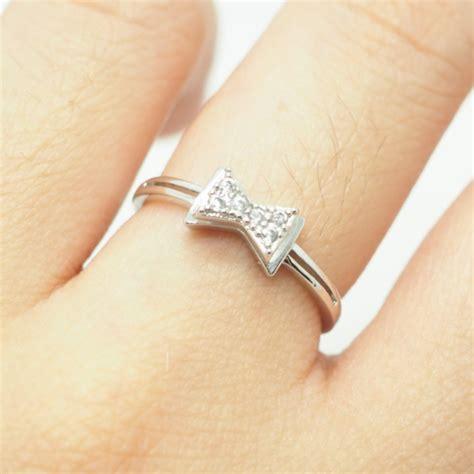 silver bow ring crystal ribbon ring monogram simple