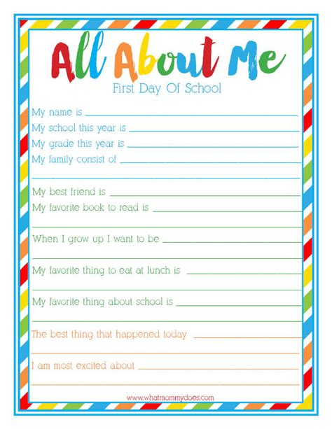 day of school quot all about me quot free 607 | all about me back to school interview
