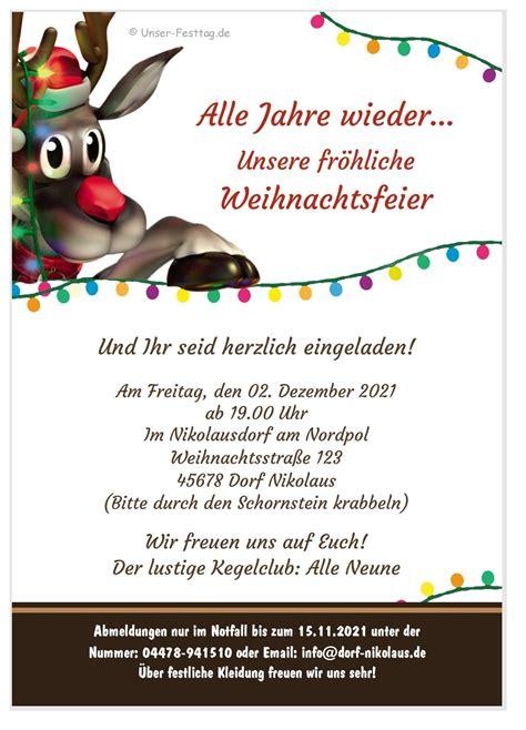 lustige einladungen zur weihnachtsfeier rudolf laedt ein