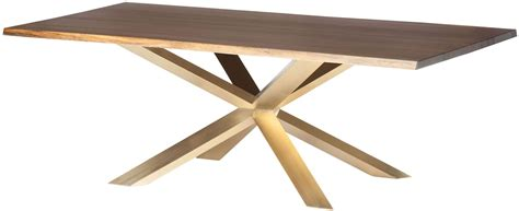 couture  seared wood  gold metal dining table
