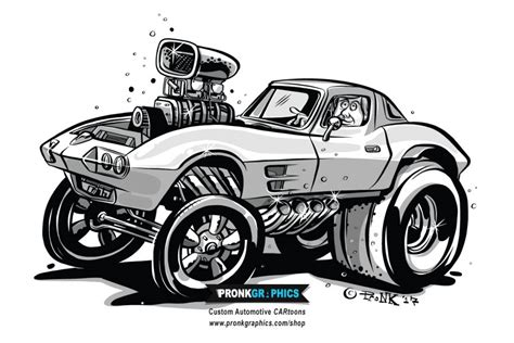 drawing   corvette gasser hot rod cartoon pronk graphics