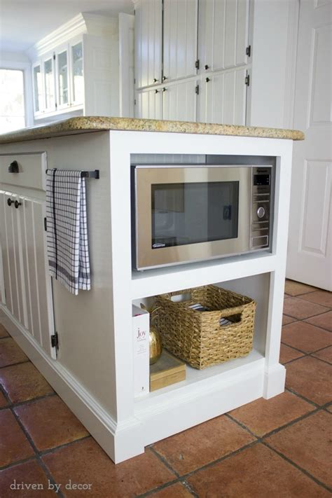microwave in island in kitchen our remodeled kitchen island with built in microwave shelf driven by decor