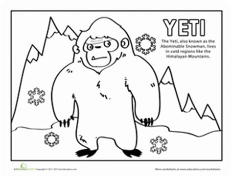 yeti coloring page cool coloring pages coloring pages