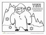 Yeti Coloring Worksheets Pages Worksheet Nepal Education Printables Creatures Mythical Cultures Community Thing Template Grade Cute Tibet Kindergarten sketch template