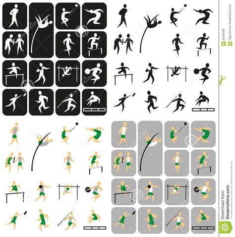 sports icons athletics stock vector image