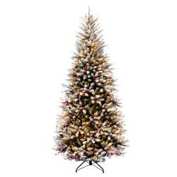 national tree co dunhill fir pre lit 7 5 slim artificial christmas tree with 600 pre lit snow