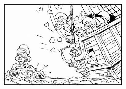 Coloring Smurfs Smurf Pages Mermaid Pirates Valentine