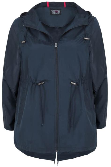navy shower resistant pocket parka jacket  hood