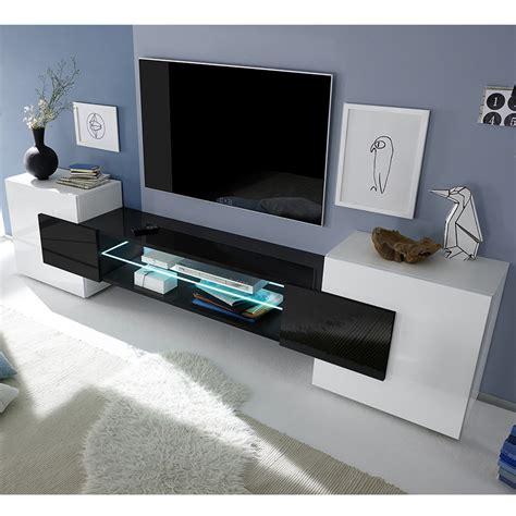 Meuble Télévision Blanc Et Noir Laqué Brillant Sofamobili