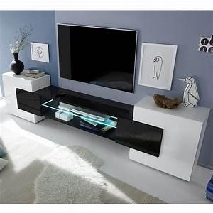Meuble De Tele Design : meuble t l vision blanc et noir laqu brillant sofamobili ~ Teatrodelosmanantiales.com Idées de Décoration