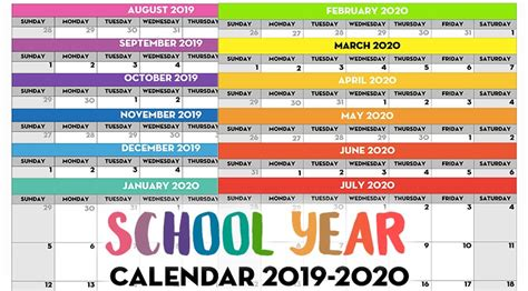 printable school year calendar monthly pages lovely
