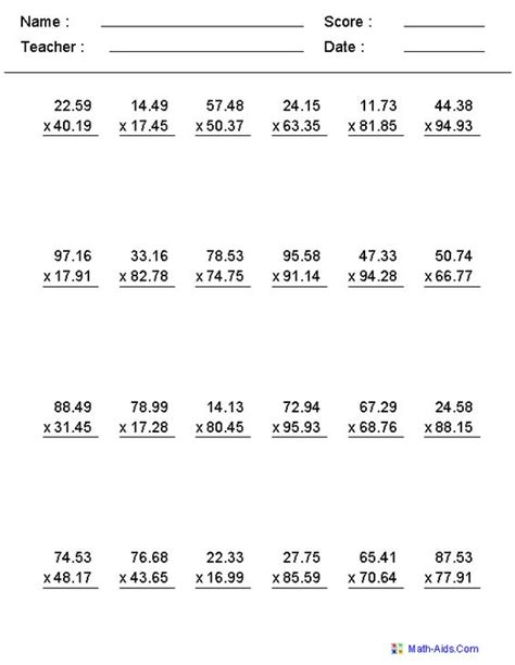 Printable decimal number worksheet for primary students, based on the singapore math choose one of the following decimal worksheets categories with exercises for math grade levels 4 to 6. Multiplication Worksheets with Decimals This worksheet was ...
