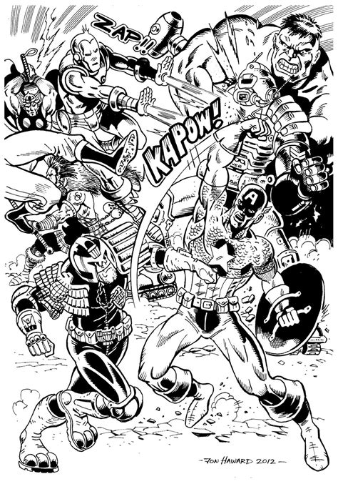 Avengers battle - Books Adult Coloring Pages