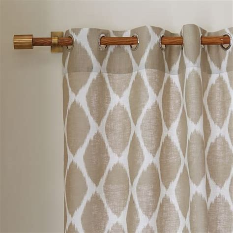 ikat ogee linen curtain ivory straw west elm