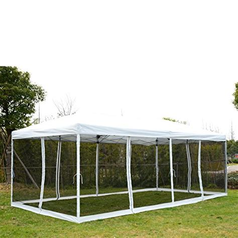 outsunny    pop  canopy shelter party tent  mesh walls cream white