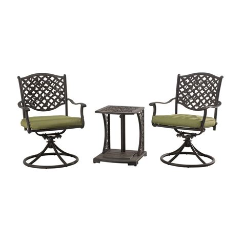 sunjoy vining 3 patio bistro set with green cushions