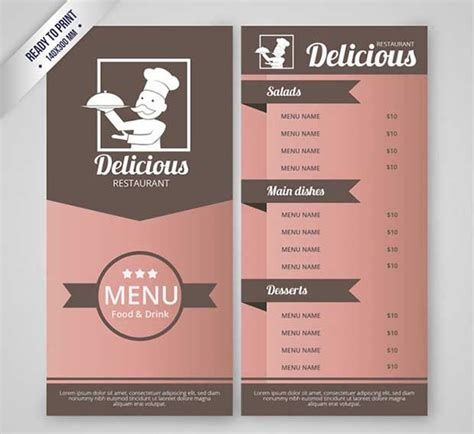 free menu design templates 26 free restaurant menu templates to