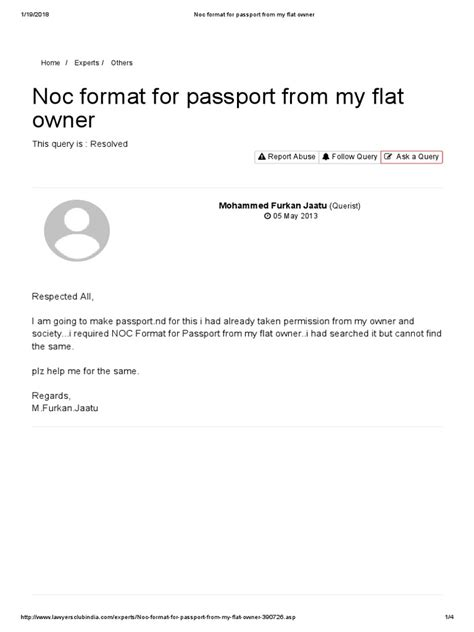 noc format  passport   flat owner passport