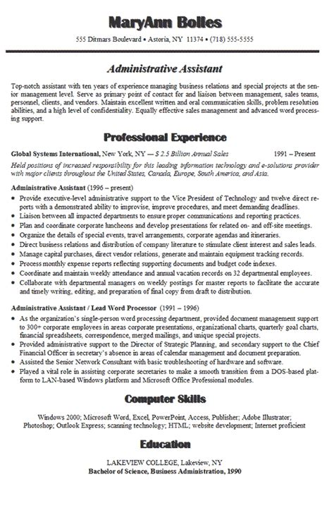 resume for administration administrative assistant resume exle sle