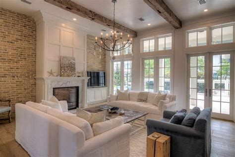 Living Room With Fireplace And Doors by Living Room With Fireplace Reclaimed Brick Wall
