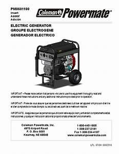 Coleman Powermate Pm0601100 Generator Owners Manual