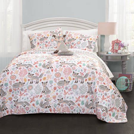 fox comforter set pixie fox quilt gray pink 4 set walmart