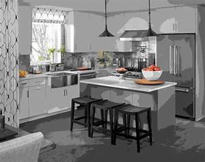 Table Cuisine Grise : cuisine avec lot central moderne au quotidien ~ Teatrodelosmanantiales.com Idées de Décoration