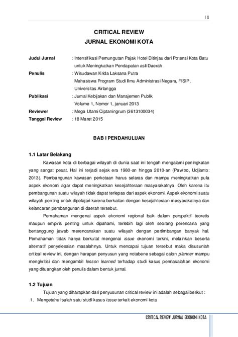 (PDF) Critical Review Jurnal Ekonomi | Mega Utami