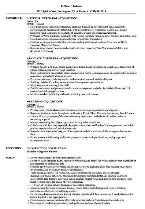 Resume M A Advisor by Mergers Acquisitions Resume Sles Velvet