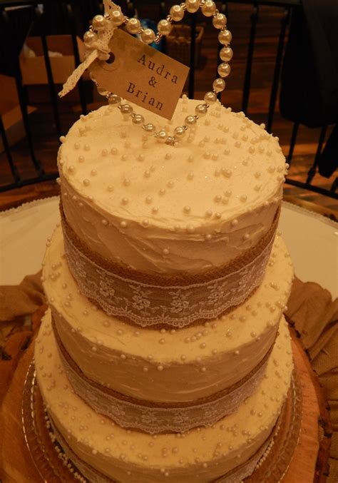 Burlap And Lace 3 Tier Wedding Cake