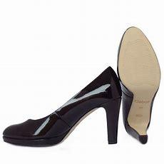 Gabor Shoes  Splendid  Ladies Court Shoe In Black Patent