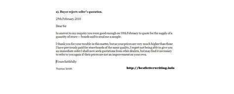 quotation business rejection letter template