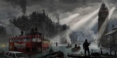 Dystopian Apocalyptic London Artwork Wallpapers Desktop Backgrounds