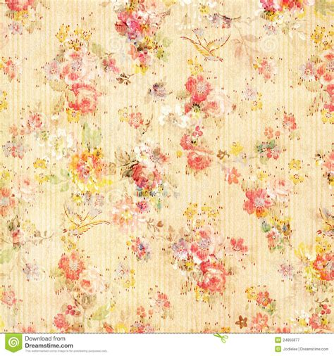 Shabby Chic Vintage Antique Rose Floral Wallpaper Stock