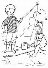 Fishing Coloring Pages Rod sketch template