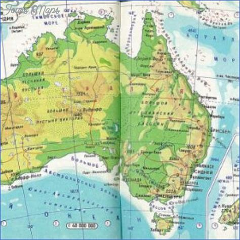australia   zealand physical map toursmapscom