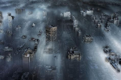 Abstract Cityscape Wallpaper by Photography Cityscape Mist Buildings Aerial View